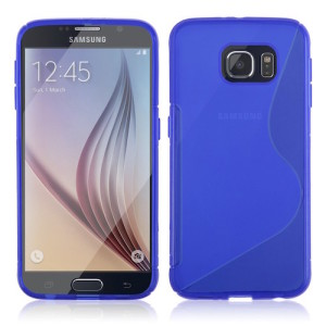 Blue Streamline Silicone Gel TPU Skin Cover Case for Samsung Galaxy S7