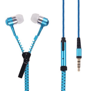 3.5mm In-Ear Headphone Zip Tangle Free Headset Earphones with Mic - Metallic Blue
