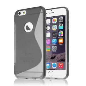Grey S Line Gel Skin Cover Case for iPhone 6 and 6s (4.7) with Cut Out for Apple Logo