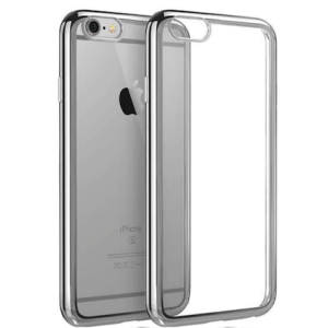 Silver Electroplated Chrome Sides TPU Soft Gel Clear Back Protective Cover Case for iPhone 7 (4.7)