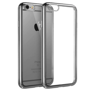 Space Grey Electroplated Chrome Sides TPU Soft Gel Clear Back Protective Cover Case for iPhone 7 (4.7)