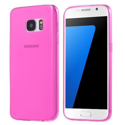 Pink Frosted Samsung Galaxy S7  Silicone Gel Skin Cover Case